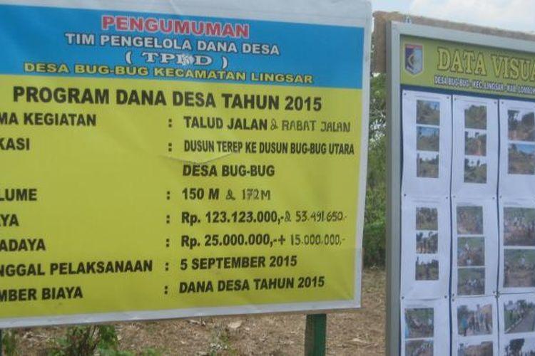 Data pembangunan infrastruktur jalan penghubung antardesa dengan pendanaan dari dana desa di Kecamatan Lingsar, Kabupaten Lombok Barat, Provinsi Nusa Tenggara Barat (NTB).
