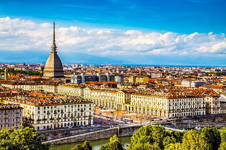 Panorama Kota Turin, Piedmont di Italia.