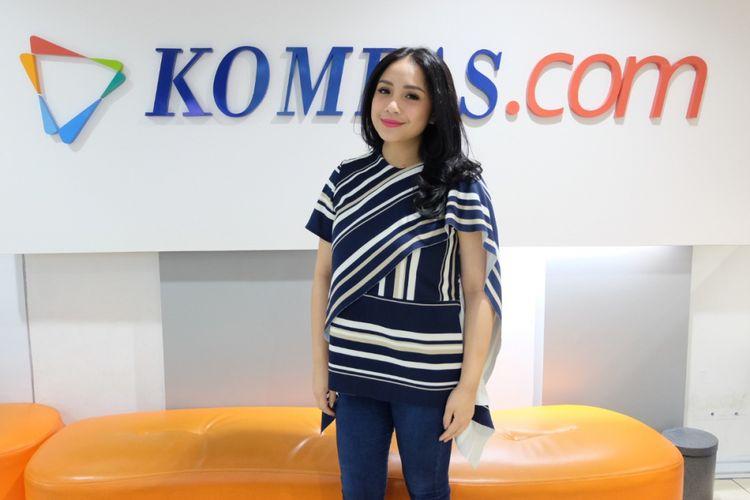 Nagita Slavina saat promo film The Secret ke Gedung Kompas Gramedia, Jalan Palmerah Selatan, Jakarta, Rabu (18/4/2018).