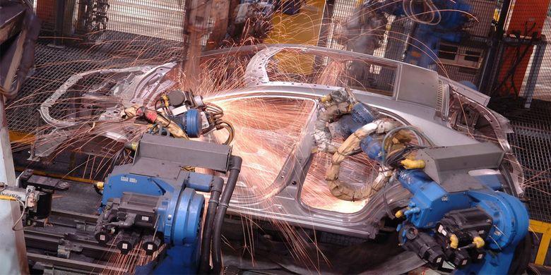 Proses produski pabrik Honda di Sayama