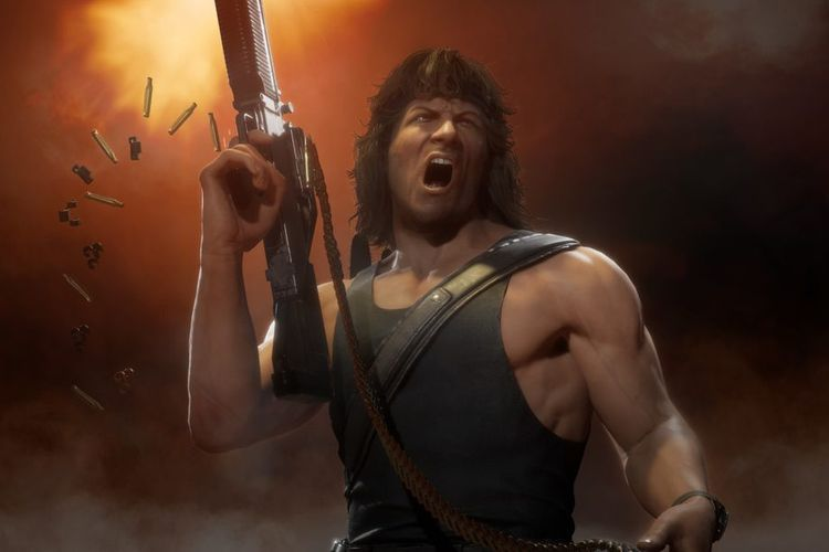 Ilustrasi karakter Rambo di Mortal Kombat 11.