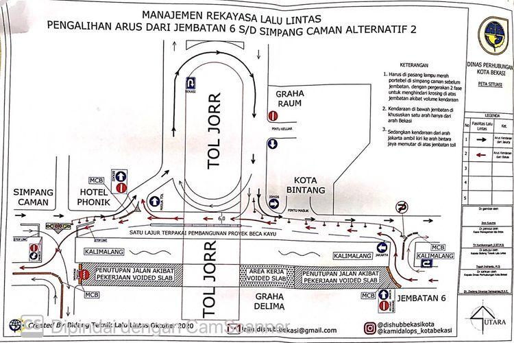 Skema pengalihan arus di Jalan KH Noe Ali, Bekasi