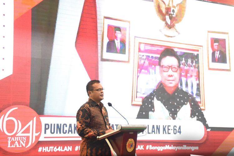 Kepala Lembaga Administrasi Negara (LAN) Adi Suryanto dalam acara ?Peringatan Hari Ulang Tahun (HUT) LAN ke-64?, di Jakarta, Jumat (6/8/2021).