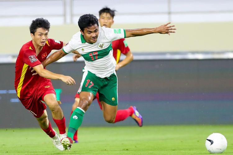 Momen laga timnas Indonesia vs Vietnam di Stadion Al Maktoum, Dubai, Uni Emirat Arab, Senin (7/6/2021), pada lanjutan Kualifikasi Piala Dunia 2022 Zona Asia.