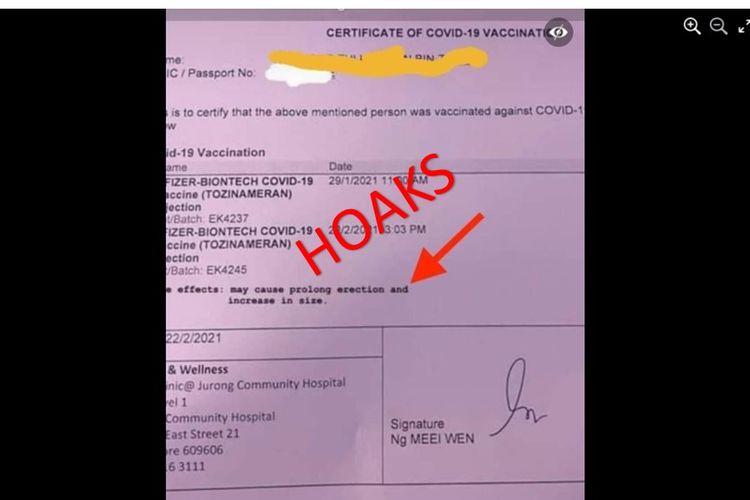 Tangkapan layar foto hoaks sertifikat Covid-19 Pfizer yang memuat efek samping berupa memperpanjang ereksi