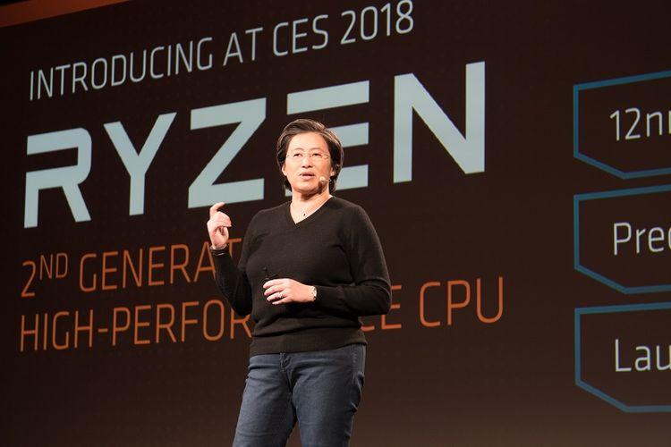 CEO AMD Lisa Su dalam acara AMD Tech Day 2018 di Las Vegas, Amerika Serikat pada Sabtu (6/1/2018).