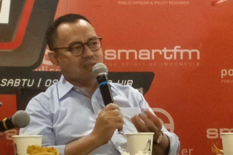 Direktur Badan Pemenangan Nasional (BPN) pasangan Prabowo Subianto-Sandiaga Uno, Sudirman Said, saat menjadi pembicara dalam diskusi Perspektif Indonesia di kawasan Thamrin, Jakarta Pusat, Sabtu (1/12/2018).