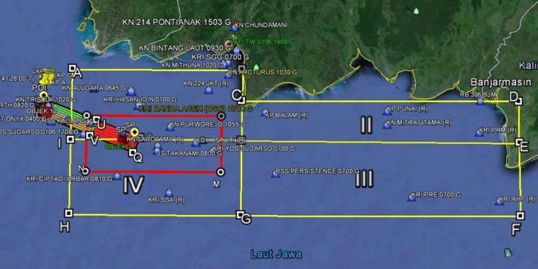 Peta area pencarian pesawat AirAsia QZ8501.