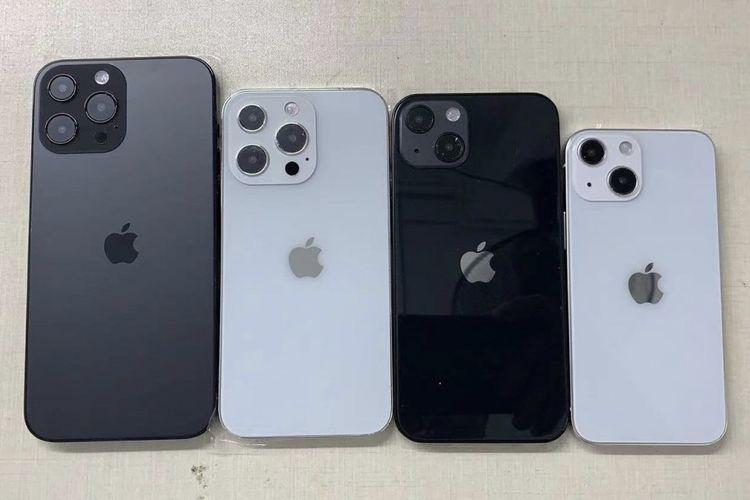 Ilustrasi dummy empat model iPhone 13.