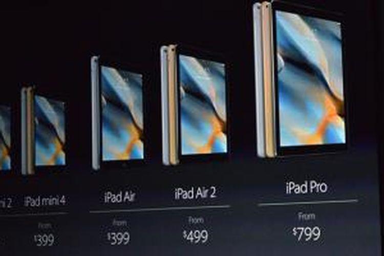 Daftar harga model-model iPad yang diumumkan dalam acara Apple di Bill Graham Civic Auditorium, San Francisco, AS, Rabu (9/9/2015)