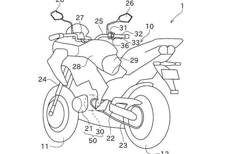 Desain paten Kawasaki untuk motor hybrid