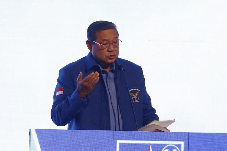 Ketua Umum Partai Demokrat Susilo Bambang Yudhoyono menyampaikan sambutan dalam pembukaan Rapat Pimpinan Nasional (Rapimnas) Partai Demokrat tahun 2018 di Sentul International Convention Center, Bogor, Jawa Barat, Sabtu (10/03/2018) .Partai Demokrat menggelar Rapimnas selama dua hari 10-11 Maret 2018 untuk membahas strategi Pemilu 2018 serta Pemilu Legislatif dan Pilpres 2019.
