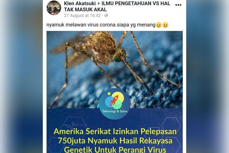 Foto unggahan akun Facebook Klen Akatsuki menarasikan nyamuk melawan virus Corona