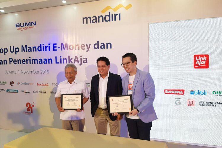 Kerja sama Bank Mandiri dan LinkAja, Jumat (1/11/2019).