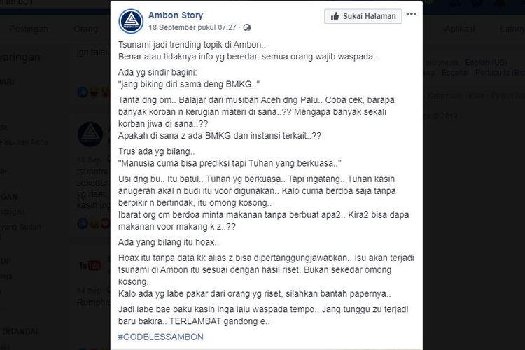 Salah satu konten di Facebook yang menyebut isu tsunami di Ambon