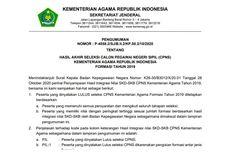 Hasil CPNS 2019 Kemenag Sudah Diumumkan, Ini Link dan Informasi Pemberkasannya...