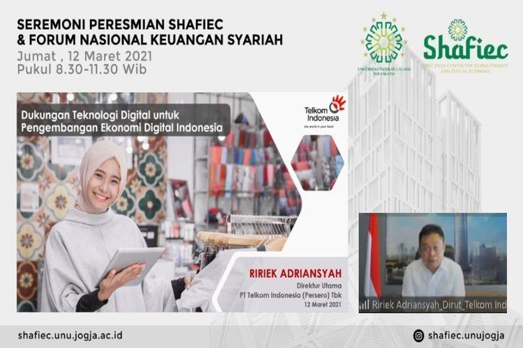 Peresmian Center for Sharia Finance & Digital Economy (Shafiec) Universitas Nahdlatul Ulama Yogyakarta dan Forum Keuangan Nasional Syariah, Jumat (12/3/2021).