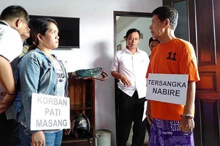 Polisi gelar rekonstruksi pembunuhan di Kabupaten Berau, Rabu (12/2/2020).