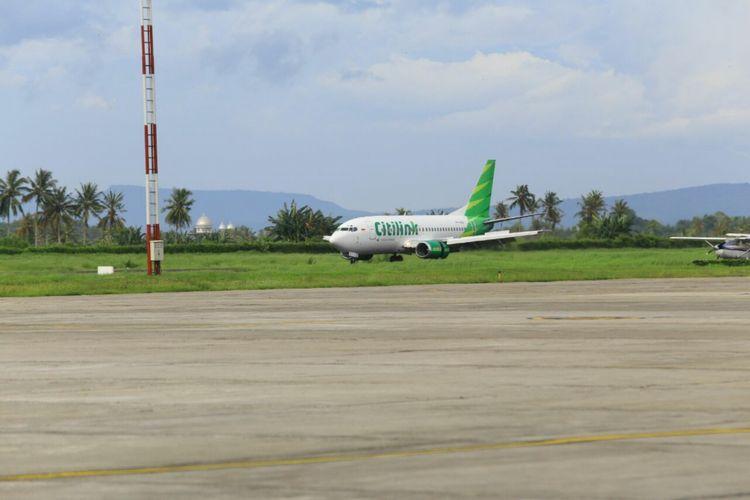 Pesawat Citilink mendarat pertama kali di Bandara Banyuwangi, Jawa Timur, Kamis (15/2/2018).