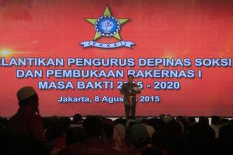 Presiden Joko Widodo membuka rapat kerja nasional I SOKSI di Balai Kartini, Sabtu (8/8/2015).