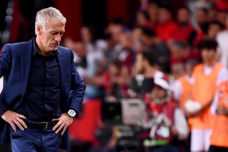 Ekspresi pelatih tim nasional Perancis, Didier Deschamps, saat laga kualifikasi Euro 2020 di Stadion Buyuksehir Belediyesi, Konya, Sabtu (8/6/2019).