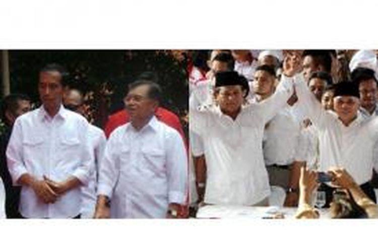 Joko Widodo dan Jusuf Kalla (kiri) dan Prabowo Subianto-Hatta Rajasa (kanan)