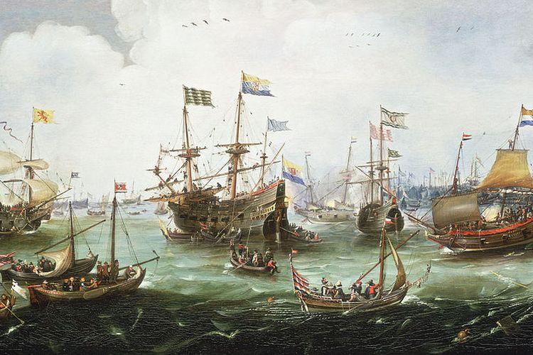 Lukisan yang menggambarkan kapal-kapal Belanda ?Overijssel?, ?Vriesland?, ?Mauritius? dan ?Hollandia? kembali ke Amsterdam dari ekspedisi kedua mereka di East Indies (Indonesia) pada 1599. Lukisan dibuat oleh Andries van Eertvelt berdasarkan lukisan gurunya, Hendrick Cornelisz Vroom (1566-1640) yang diabadikan di Rijksmuseum, Amsterdam.