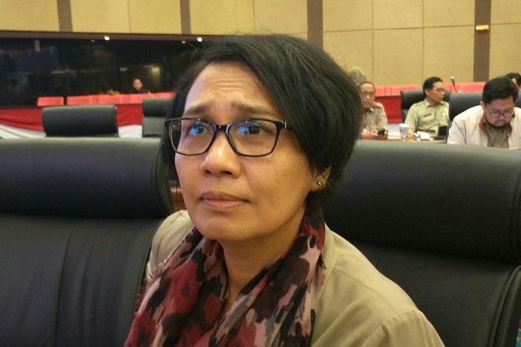 Pelaksana Tugas (Plt) Kepala Badan Perencanaan Pembangunan Daerah (Bappeda) DKI Jakarta Suharti di Gedung DPRD DKI Jakarta, Senin (9/12/2019).