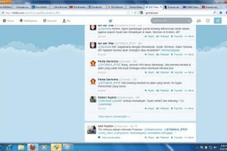Tampilan percakapan di Twitter mengenai manifesto Partai Gerindra