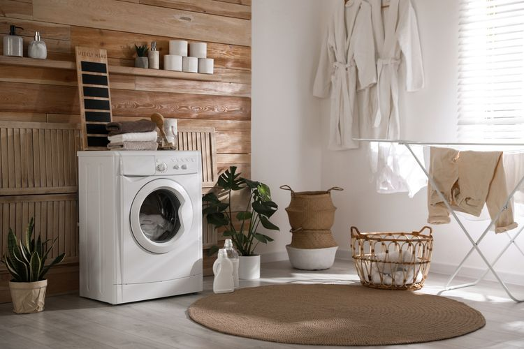 Ilustrasi ruang cuci, ruang mencuci, mesin cuci.
