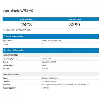 Bocoran hasil benchmark Geekbench yang disinyalir memperlihatkan skor ponsel gaming Xiaomi Black Shark 2.