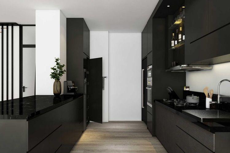 Dapur minimalis Apartment Season City di Jakarta karya La.Casa