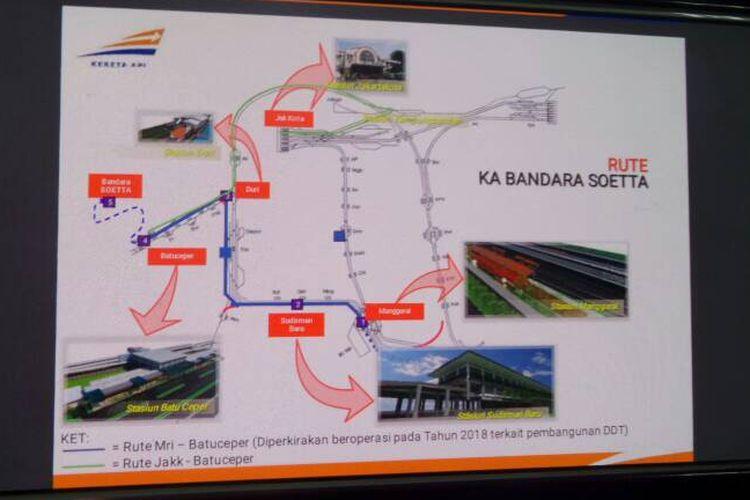 Tampak rute final untuk kereta Bandara Soekarno-Hatta yang dikeluarkan oleh PT KAI Daop 1 pada Selasa (23/5/2017). Kereta bandara ditargetkan beroperasi pada tengah tahun 2017.