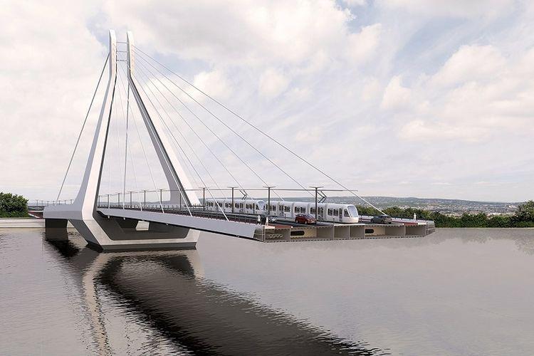 Rancangan jembatan di Budapest, Hongaria.