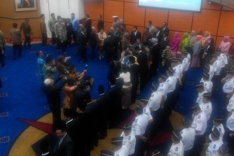 Pelantikan Kepala BMKG, pejabat tinggi, pejabat madya, pejabat administrator, dan pejabat pengawas di lingkungan Kementerian Perhubungan, Jumat (3/11/2017).