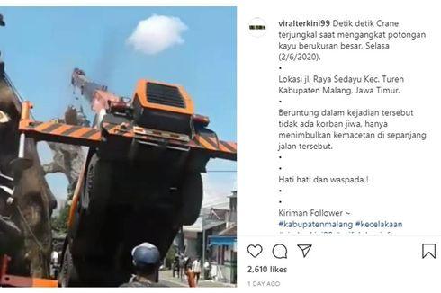 Viral, Video Detik-detik Crane di Malang Terjungkir karena Tak Kuat Angkat Potongan Pohon