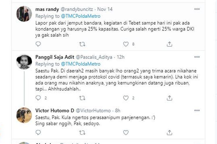 Warganet menyerbu akun Twitter @TMCPoldaMetroJaya pada Sabtu (14/11/2020) hingga Minggu (15/11/2020). Mereka kecewa dengan perlakuan polisi yang tidak membubarkan kerumunan massa Rizieq Shihab di Petamburan, Jakart Pusat. Hal ini berbeda dengan perlakuan polisi saat menemukan acara hajatan warga yang langsung dibubarkan ketika masih berlangsung.