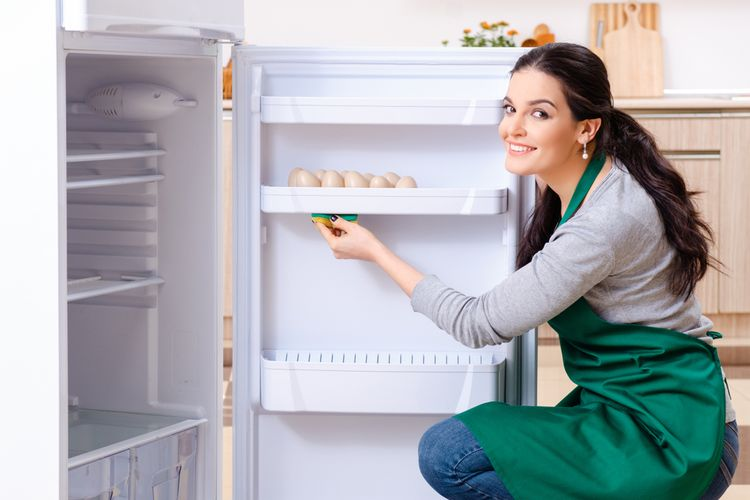 Ilustrasi membersihkan kulkas, membersihkan lemari es.
