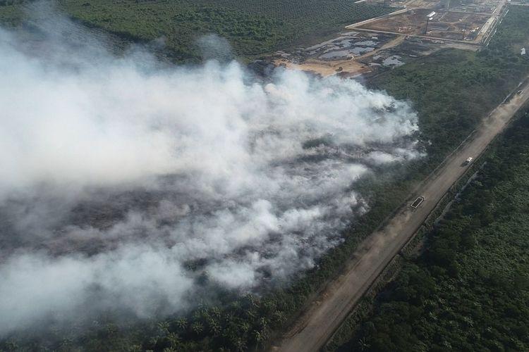 Photo udara yang dikeluarakan Badan Penanggulangan Bencana (BPBD) Aceh Barat menunjukkan kondisi kebakaran lahan gambut di Desa Suak Puntong, Nagan Raya. Dampaknya asap mulai perlahan merambati permukiman. Petugas Gabungan berupaya keras memadamkan api yang sudah membakar lahan gambut sejak 27 Februari 2021 lalu.