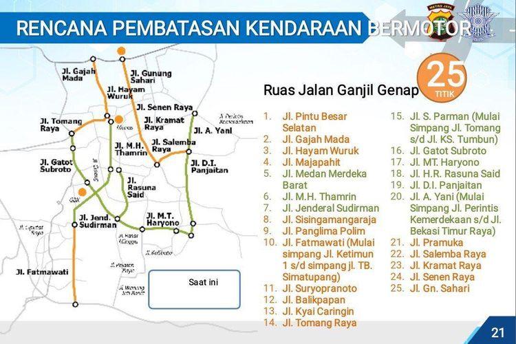 Ruas jalan yang terdampak ganjil genap di wilayah Jakarta dan sekitarnya
