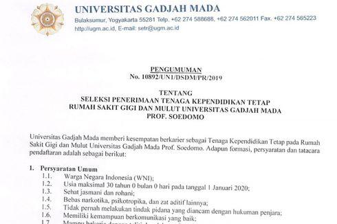 Simak, RSGM Prof. Soedomo UGM Buka Lowongan untuk D III dan S1