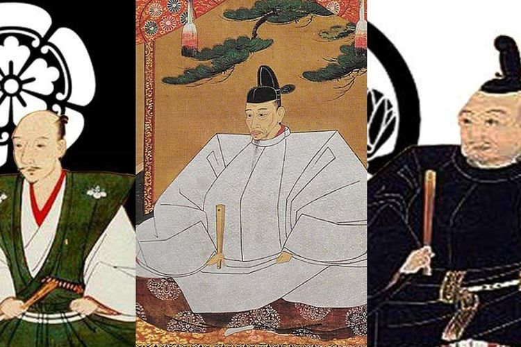 Ilustrasi samurai pemersatu Jepang, Oda Nobunaga (kiri), Toyotomi Hideyoshi (tengah), Tokugawa Ieyasu (kanan). [Via Denver Art Museum]