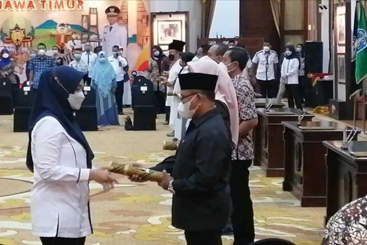 Gladi bersih pelantikan kepala daerah di Gedung Negara Grahadi Surabaya, Rabu (24/2/2021).