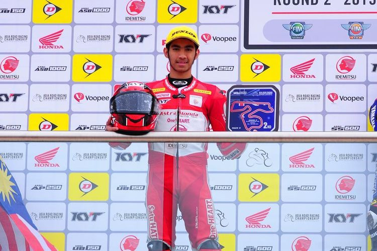 Andi Gilang menjadi runner up race kedua kelas SS600 di Asia Road Racing Championship 2019 di Australia, Minggu (28/4/2019).