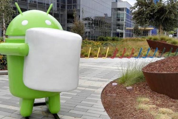 Patung Android Marshmallow di kantor pusat Google, Mountain View, California.