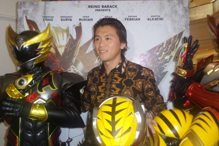 Reino Barack diabadikan usai konferensi pers film Satria Heroes: Revenge of Darkness di Plaza Indonesia, Jakarta Pusat, Kamis (27/4/2017).