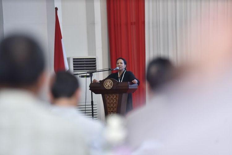 Menteri BUMN Rini Soemarno dalam acara BUMN Great Leaders Camp, Selasa (12/3/2019).