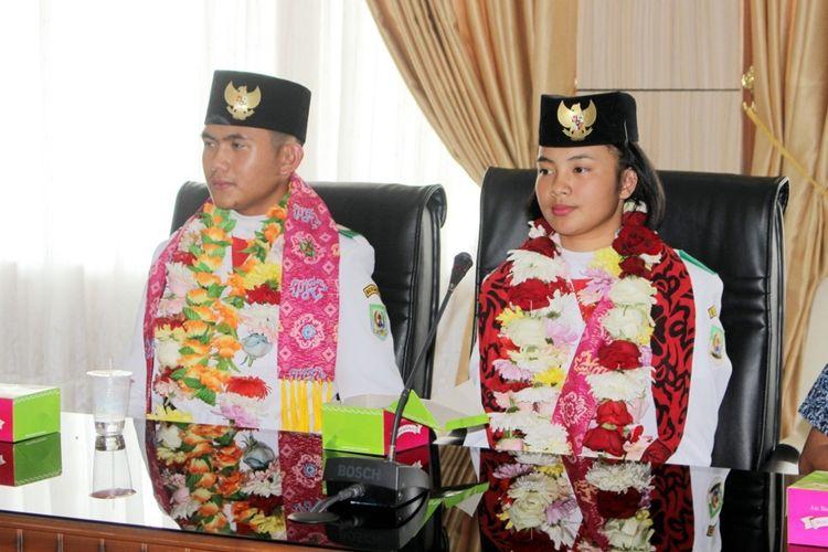 Sudrajat Prawijaya dan Aisyah Rahmawati disambut di kantor Gubernur Bengkulu