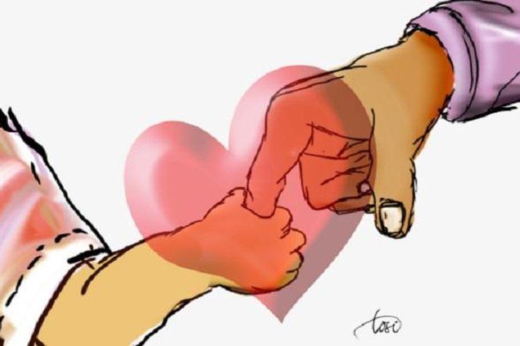 Ilustrasi kasih sayang orangtua dan perlindungan anak