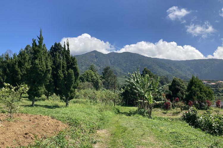 Pemandangan yang dapat dilihat dari jalur trekking di kaki Gunung Salak yang berlokasi di Desa Pasirjaya, Kecamatan Cigombong, Kabupaten Bogor, Kamis (27/5/2021).
